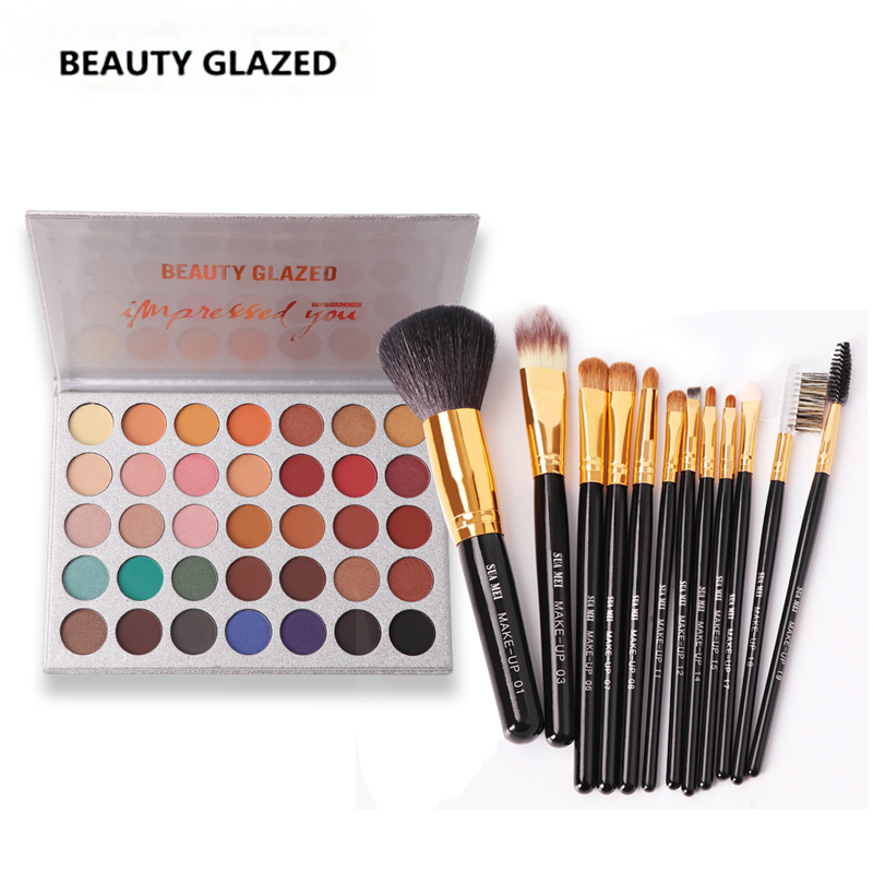 BEAUTY GLAZED Brand Natural Eyeshadow Palette  with Brush Luminous Long-lasting Matte Eyeshadow Shimmer Cosmetics 35 Colors In1<br>