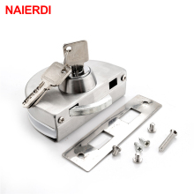 NAIERDI Single Central Glass Door Lock Stainless Steel Bolt Locks Open Frameless Door Hasps For 10-12mm Glass Furniture Hardware