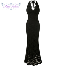 Angel-fashions Halter Sleeveless Lace vestidos de noche Long Evening Dresses Black 160(China)