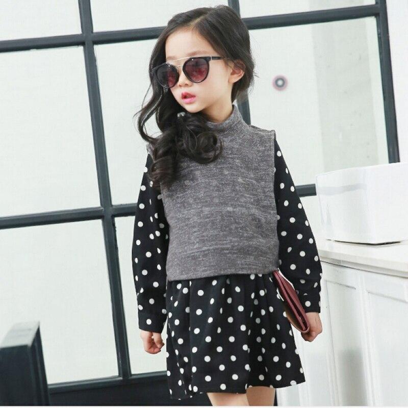 kids dot dress spring 2016 new childrens clothing girls detachable cute princess dress vest sweater +long sleeve dress 2 piece<br><br>Aliexpress