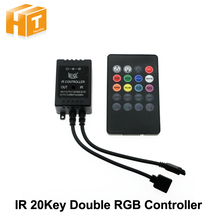 LED RGB Music Controller DC12-24V 20 Key Sound Sensor IR Remote Controller For RGB LED Strip(China)
