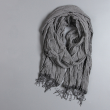 Japanese Style Vintage Cotton Linen Women's Scarves Spring and Winter Long Plaid Gray Tassel Scarves Girl Sweet Scarf Wraps