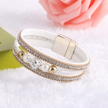 Fashion Leather Magnet Buckle Crystal Rhinestone Imitation pearls Charm Bangle Women Boho Multilayer Wristband Jewelry