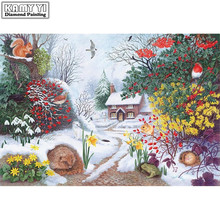 diy diamond painting cross stitch night of christmas full diamond embroidery snow house diamond mosaic home decor Christmas gif