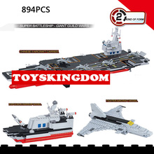 Modern Military world Super warship Giant Guild wars 2IN1 building block Aircraft carrier model fighter plane brick toys for boy(China)