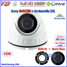 Hot H.265 1080P IP Mini Camera IMX290 2.0MP Ambarella Night Vision Camara IP Onvif 2.4 with 3MP HD Lens, HDR, H.264, P2P, IR-CUT