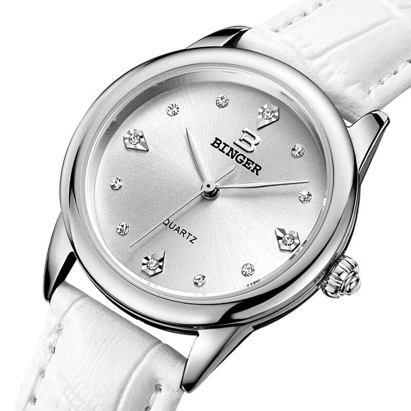 Switzerland Binger women watches quartz Red-Hot Shell dial womens Watches Genuine Leather Strap waterproof clock BG9006<br>