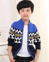 2017 autumn winter children's clothes boys sweaters causal stand collar cotton boy knitted cardigan sweaters for boys big kids(China)