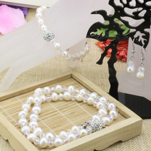 Natural 7-8mm white freshwater pearl nearround beads chain necklace earrings strand bracelet wholesale price jewelry set B3179(China)