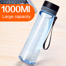 Large Capacity 1000ML Plastic Water Bottle With Rope Portable Outdoor Space Bottle Hiking Camping Travel Bottle Free BPA(China)