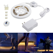 12V 1.2M Flexible LED Strip Sensor Night Light Motion Activated Bed Light with Automatic Shut Off Timer Warm white Cabinet Light