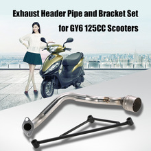 Scooter Exhaust Pipe Muffler Header with Mounting Bracket Set for GY6 125CC Engine(China)