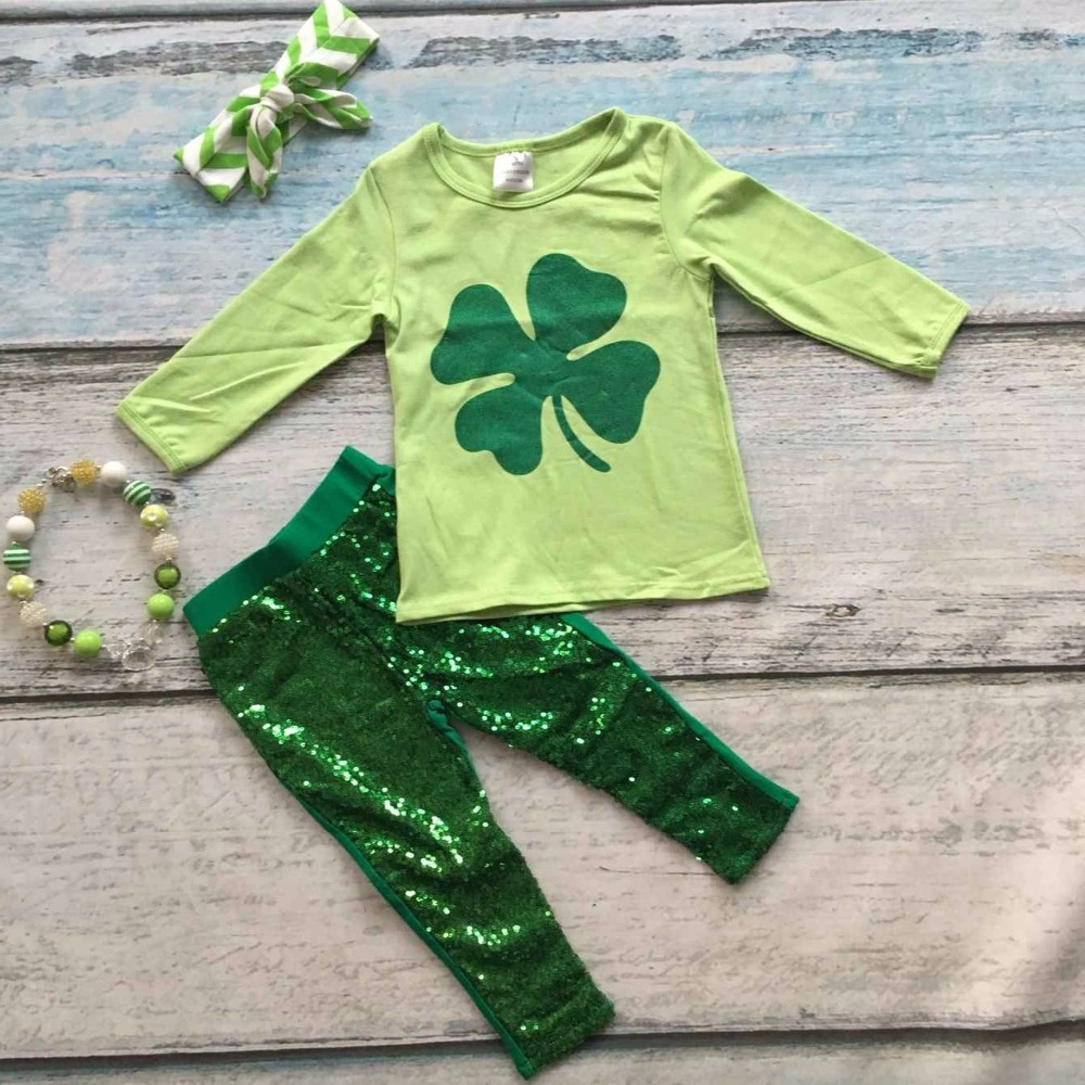 2016 baby clothing St.Martins day theme green outfit girls Spring suit sequins cotton pants boutique with matching accessories<br><br>Aliexpress