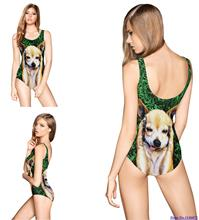 Adorkable Golden Dog Bodysuit Push Up Brazilian Swimwear Bathing Suit Sexy High Cut Swimsuits Back Hollow Out Monokini Femininas