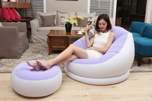 flocking pvc inflatable air bean bag with footstool, thick and comfortable portable beanbag sofa ottoman sets