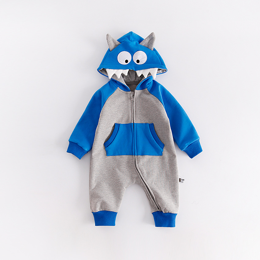 autumn/winter Funny monster hooded Baby out  jumpsuit long sleeves Double zipper pocket Baby climb clothes cotton Rompers warm<br>