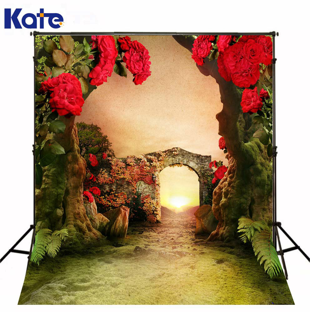 Kate Nature Backdrops Red Flowers Backdrop Photography Forest Fantasy Backdrops For Children Red Photography Backdrops<br>
