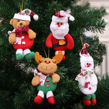 2pcs Christmas Santa Claus Elk Snowman Doll Toy Christmas Tree Ornaments Decoration Exquisite for Home Xmas Happy New Year Gift