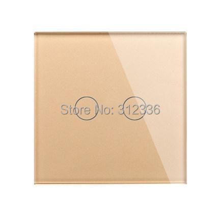 free shipping 2 gang 2 way  Champagne Color Double way wall switch Glass touch switch panel  control suit for any home<br>