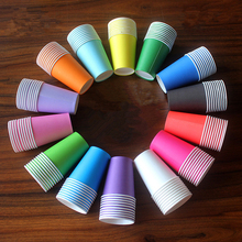 ZLJQ 20pcs Hand Painted Candy Color Paper Cups for Kids Party Drinking Accessories Christmas Tableware Children DIY Crafts 7D
