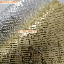 2pcs A4 Size21X29cm Alisa Glitter Faux Leather Fabric Gold and Silver Embossed Python leather Fabric For Bow DIY GM034