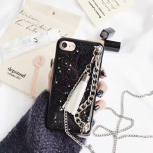 1 Pc/lot Soft TPU Black Glitter Little Star Metal Long Chain Cortex Tassel Cell Phone Case Cover For iPhone 7 6s Plus(China)