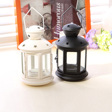 The Iron Glass Lantern Candle Lantern Candle Decoration Photography Props Wedding Gifts Birthday Gift1pcs