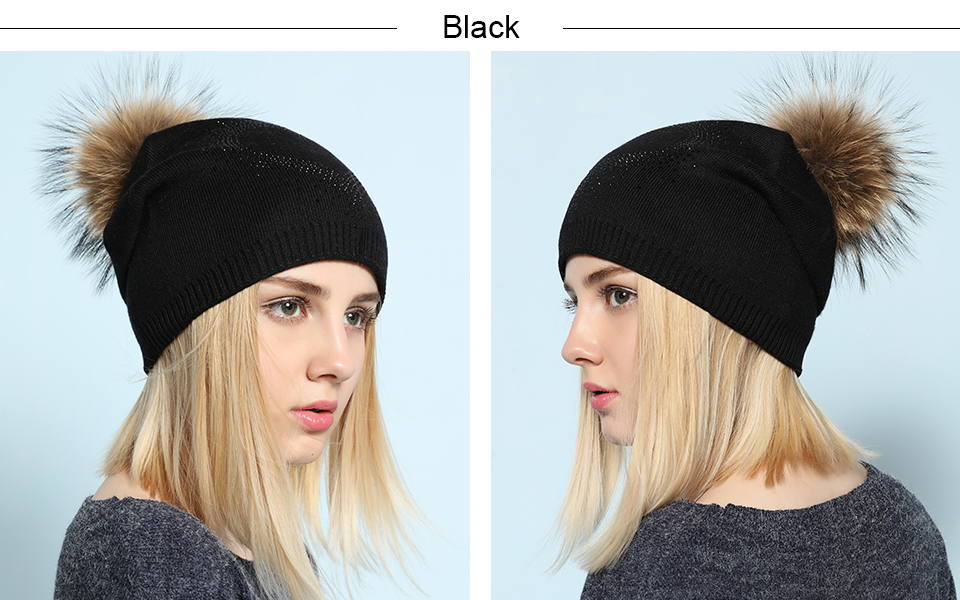 Ralferty 2018 New Real Fur Pompom Hats For Women Heart Pom Pom Beanies Thick Warm Wool Knitted Hat Women's Baggy Caps Bonnet 9