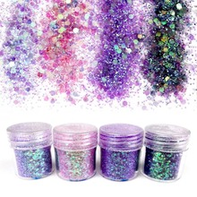 10ml Purple Sequins Nail Glitter Powder Sequins for Nail Design Tinsel Flake Brillantini Powder for Nail Art Glitter Dust SF0011