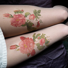Buy Princess sweet lolita pantyhose Personality flowers printed fake tattoo thigh thin  pantyhose LWK72