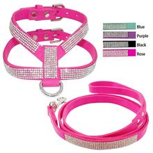Soft Suede Leather Bling Diamante Rhinestone Puppy Pet Dog Cat Harness And Leash Set For Small Medium Dog Pink Black Purple Blue(China)