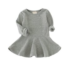 Fashion Spring Autumn Baby Kids Girls Dresses Soft Cotton Blends Long Sleeve Toddler Girls O-neck Ruffles Dress