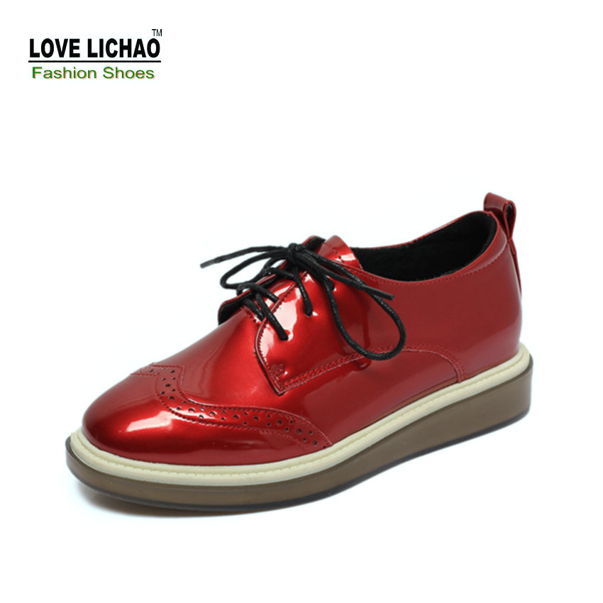 Love Lichao Red Oxford Shoes For Women Spring Round Toe Lace-up Casual Rubber Flat Shoes Womens Shoes Zapatos Mujer Size 35-39<br><br>Aliexpress