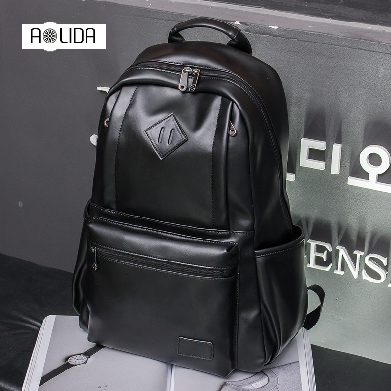 New High Capacity Mens Backpack PU Leather Bag Male Functional School Bags Laptop Backpacks Man Black Waterproof Travel bag<br>