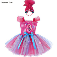 Troll Poppy Tutu Dress Baby Girl Tulle Princess Dress Kids Halloween Cosplay Costume Girl Festival Birthday Party Cartoon Dress