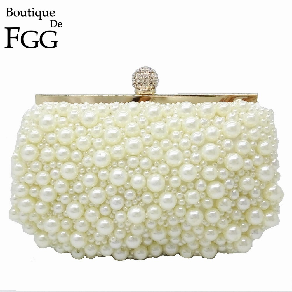 Women White Synthetic Pearl Frame Crystal Evening Clutch Bags Bridal Wedding Dress Beaded Handbags Purse With Two Metal Chains<br><br>Aliexpress