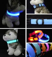Nylon LED Pet Dog Collar,Night Safety Flashing Glow In The Dark Dog Leash,Dogs Luminous Fluorescent Collars Pet Supplies(China)