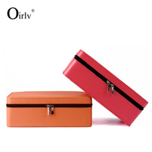 Oirlv free shipping wooden packing case with velvet insert for rings earrings pedant and bangle display leather gift boxes