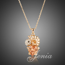 Jenia Brand Lovely Champagne Gold Color Sheep Heart Zircon Pendant Necklace Beautiful Gifts XN136