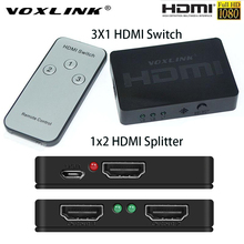 VOXLINK Mini 1080P 3D 1X2/3x1 HDMI Splitter 3-Port Switch 1/3 in 2/1 out HDMI Distributor Converter Switcher For HDTV DVD PS3 PC(China)