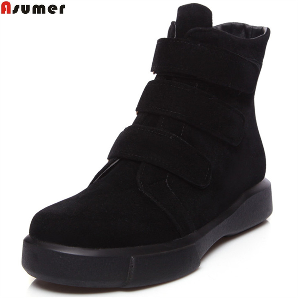 ASUMER 2018 fashion autumn winter women boots black apricot Army green ladies boots flock round toe flat with ankle boots<br>