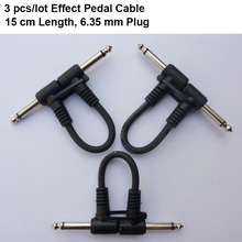 3 pcs/lot 15 cm Effect Pedal Cable for Electric Guitar Pedal Guitarra Black Patch Cable connecting line connector free shipping