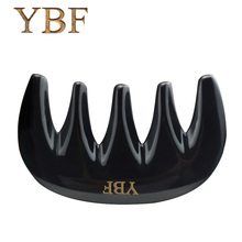 YBF Super Large Widen Five-Teeth Hair Brush Pure handmade Black Buffalo Horn Thicken Backs Neck Scalp Massage Hair Combs(China)