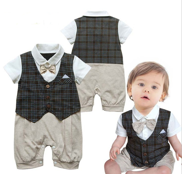 Baby Boy Ropa de Bebe Kids Newborn Infant Bowknot Bow Romper Tie Plaids Gentleman Playsuit Rompers Jumpsuit Outfit Baby Clothes<br><br>Aliexpress