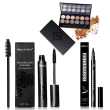 2017 Qibest New Women Fashion Eye Makeup 12 Color Eyeshadow + Mascara + Eyeliner + Mascara Brush Professional Makeup Sets