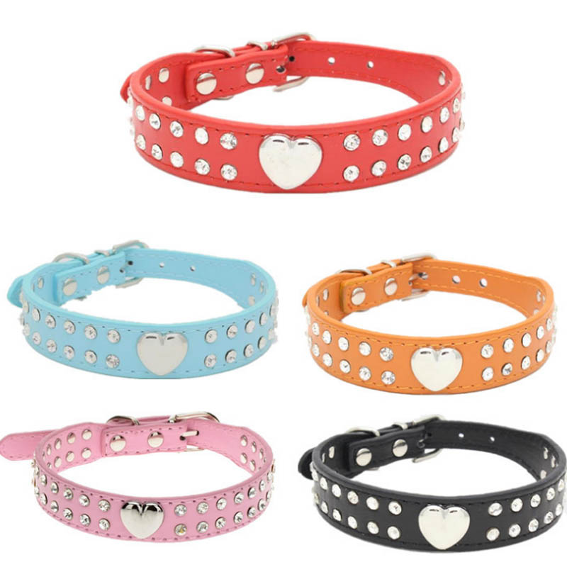 2 Rows Bling Rhinestone Puppy Dog Collar Pink Color Cat Necklace Bling Heart Studded For chihuahua Small to Medium Dogs(China)
