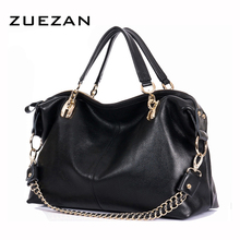 Large 100% Natural Cow Skin Hobo Bag,Women GENUINE LEATHER Handbag,Real Cowhide Chains Shoulder bags,Fashion Crossbody bag B162(China)