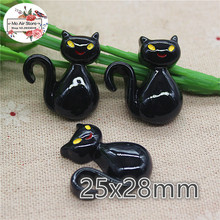 10pcs Resin black cat halloween flat back Cabochon Art Supply Decoration Charm Craft DIY hair bow center
