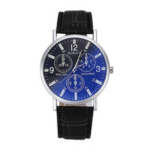 Mens watches erkek kol saati Luxury Crocodile Faux Leather Analog Blu-Ray Business Wrist Watch Clock Men 2017 men's watch