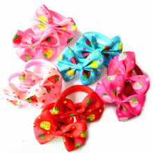 10 Pcs/Pair Cherry Pringting Bow Hair Ties Girls' Ponytail Holder Kids Hair Bands Accessories(China)